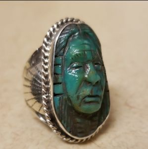 Carved Indian Chief Turquoise Sterling Silver Ring
